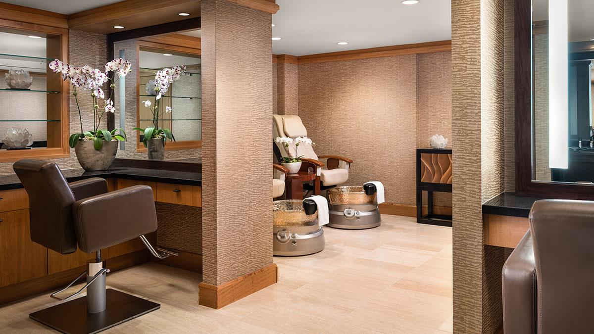 Grand Spa's Salon featuring massage pedicure chairs.